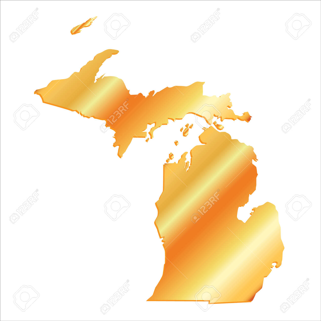 Gold In Michigan Map.3d Michigan Usa Gold Boundary Map With Shadow Royalty Free