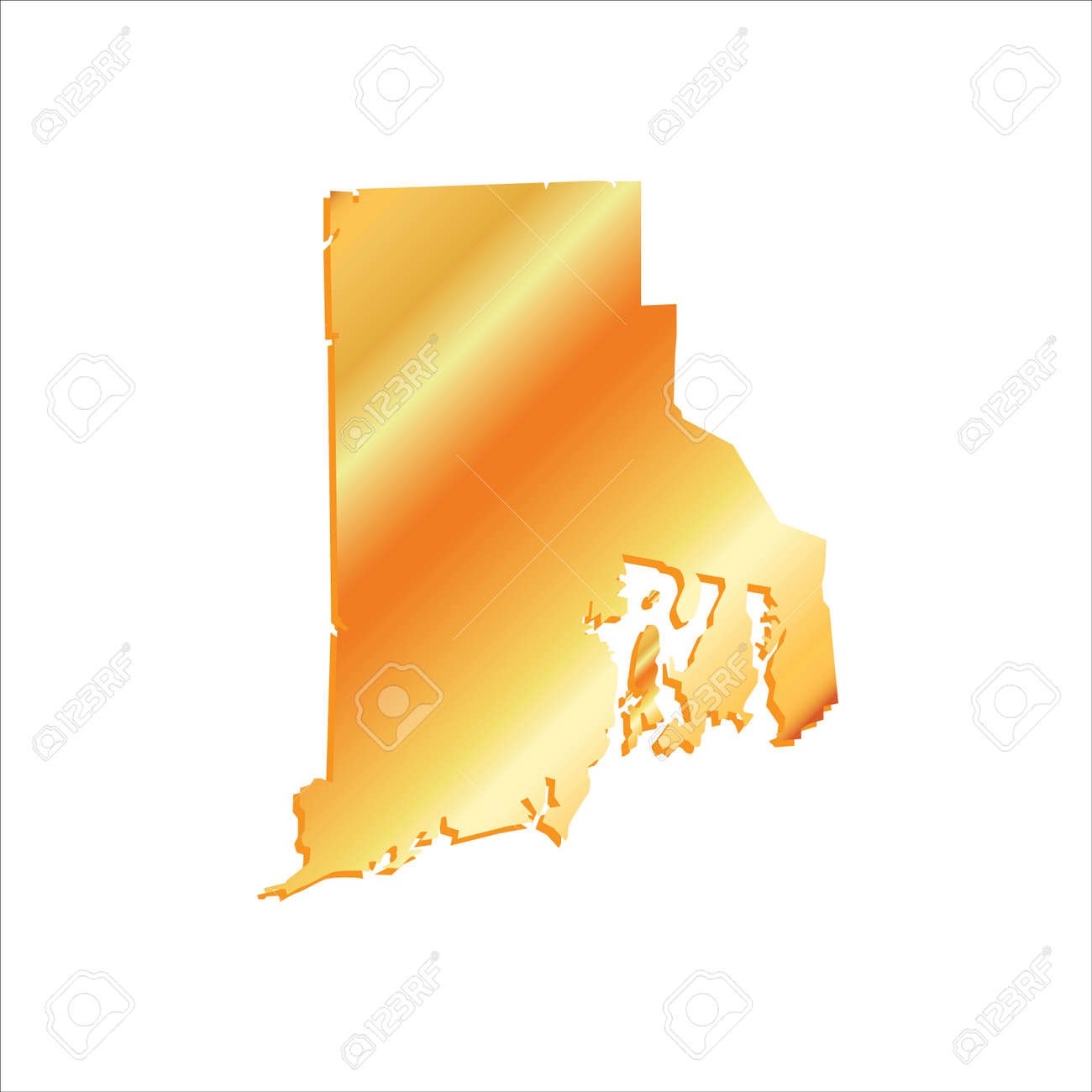 3D Rhode Island (USA) Gold Outline Map With Shadow Royalty Free ...