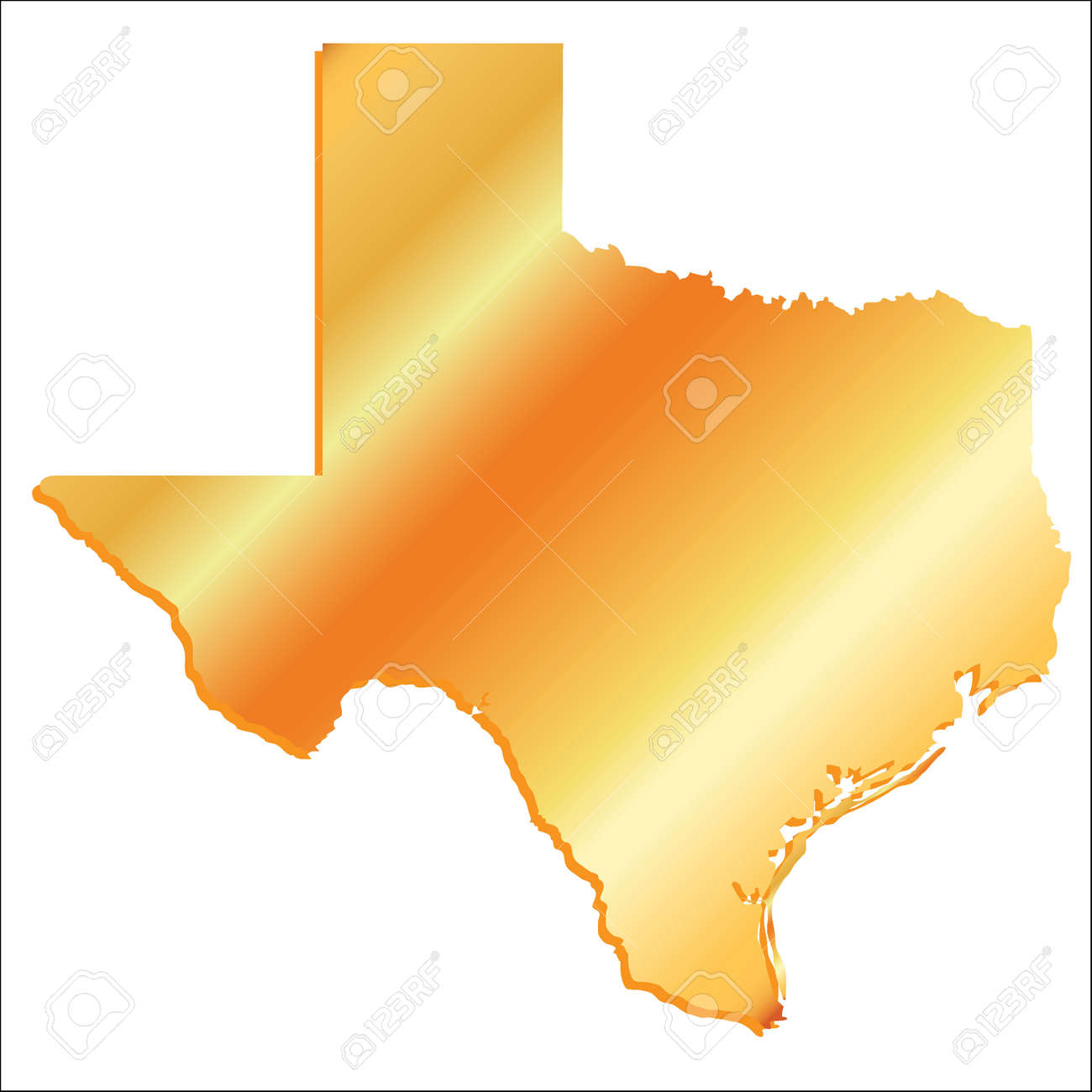 3d Map Of Texas.3d Texas Usa Gold Outline Map With Shadow