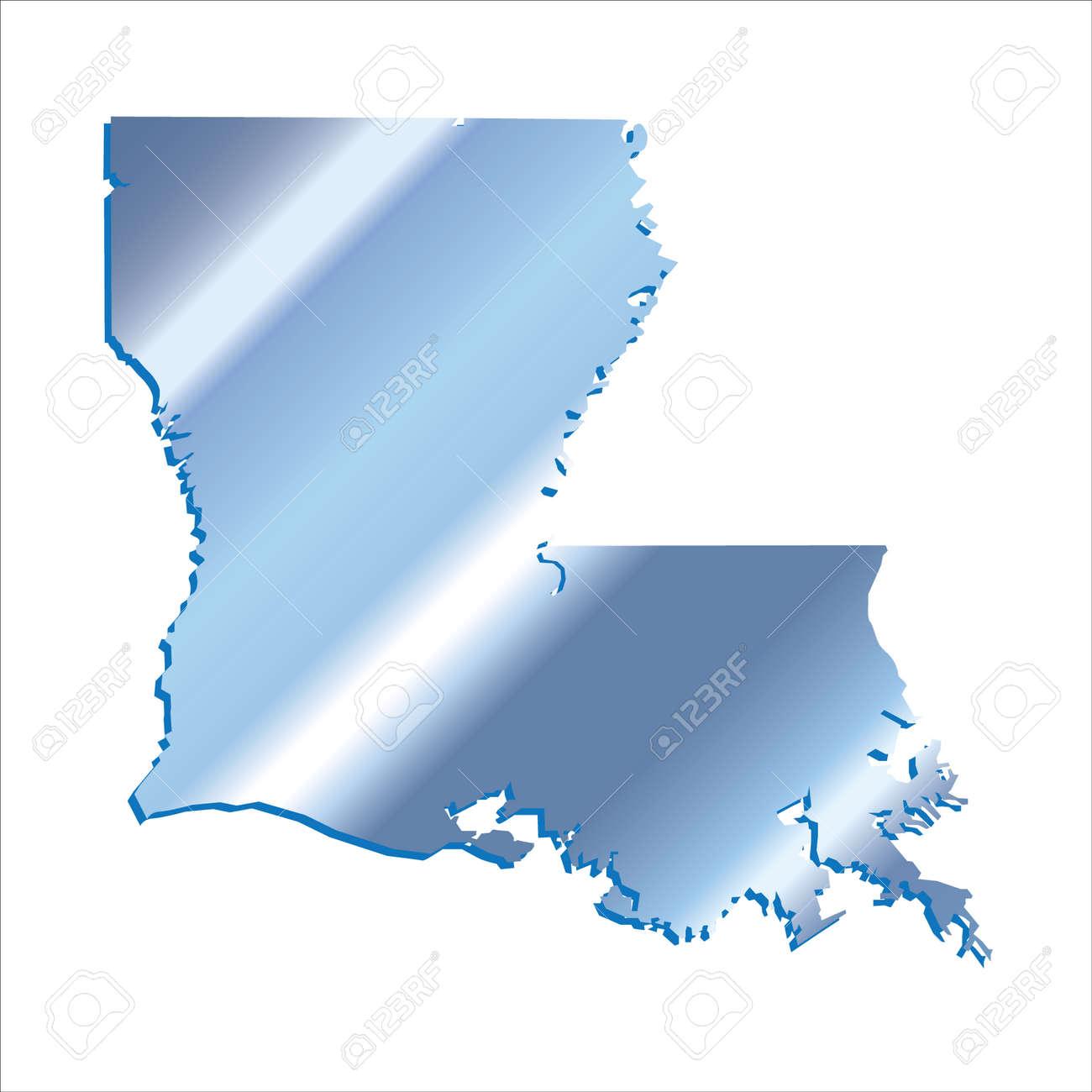 3d Louisiana Usa Iridium Blue Outline Map With Shadow Royalty Free