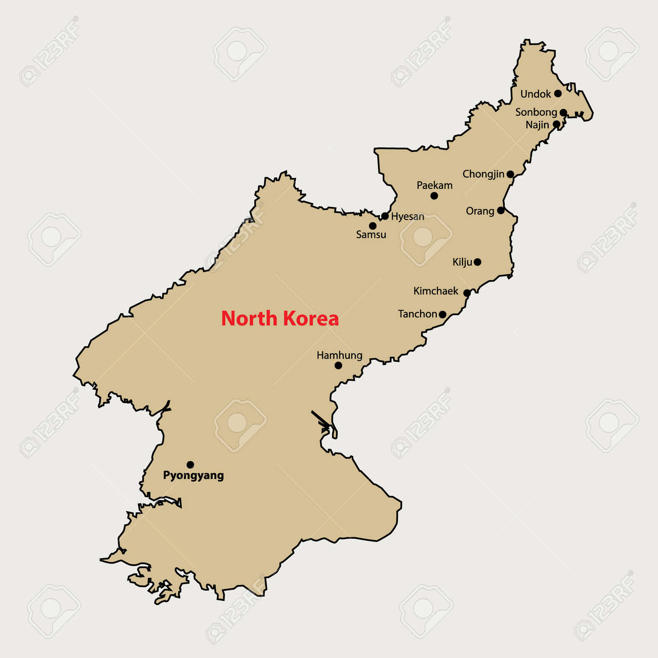 North Korea Simple Outline Map With Cities Royalty Free Cliparts