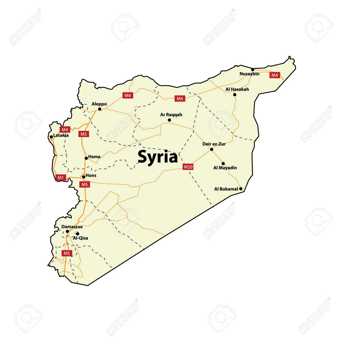 Syrien Karte Mit Städten.Stock Photo