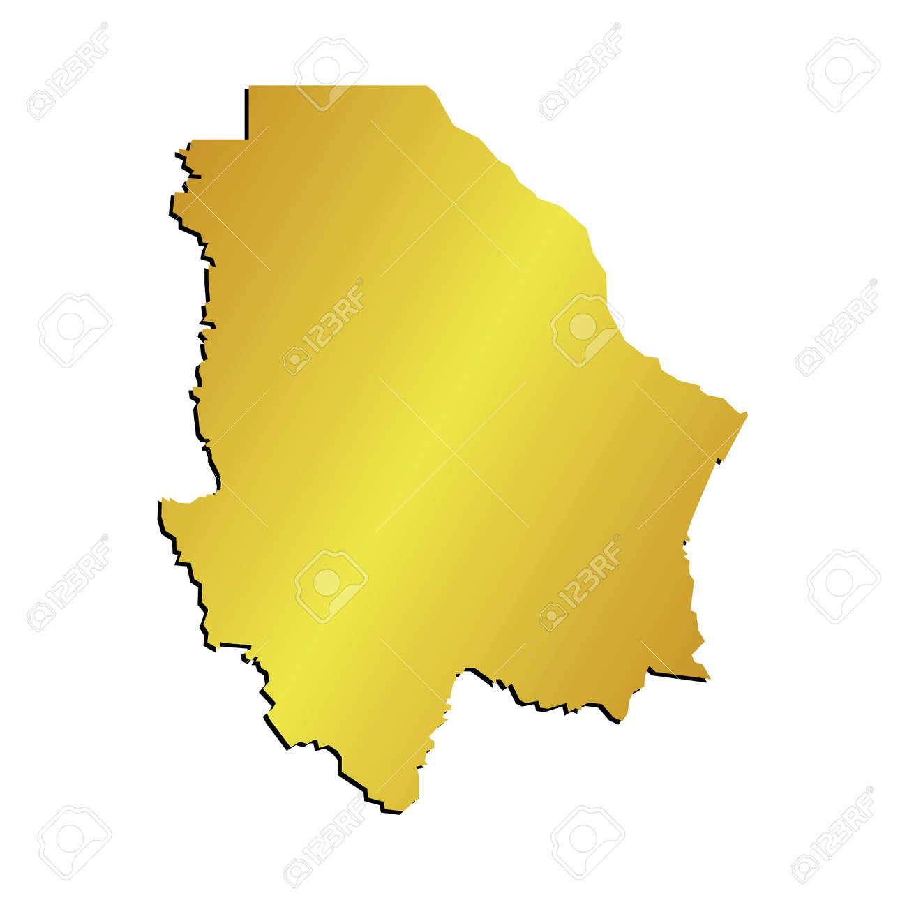 3d Chihuahua Mexico State Map Gold Vector Outline Royalty Free