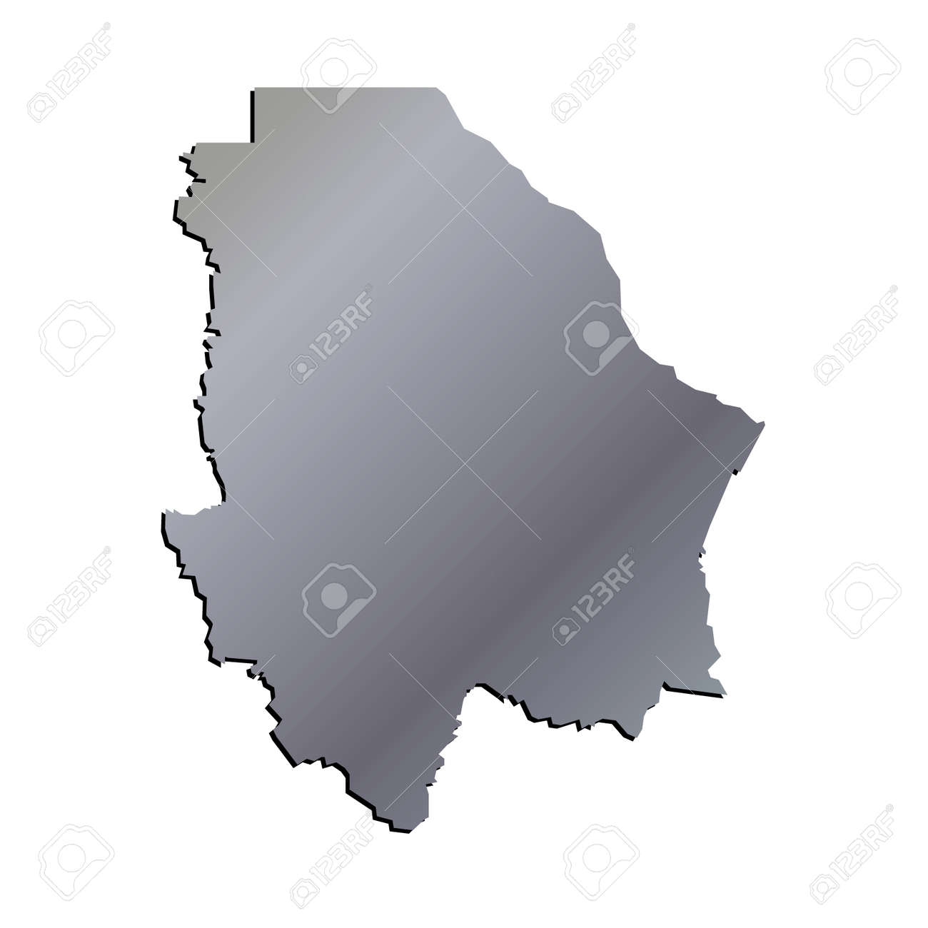 3d Chihuahua Mexico State Map Aluminium Vector Outline Royalty Free