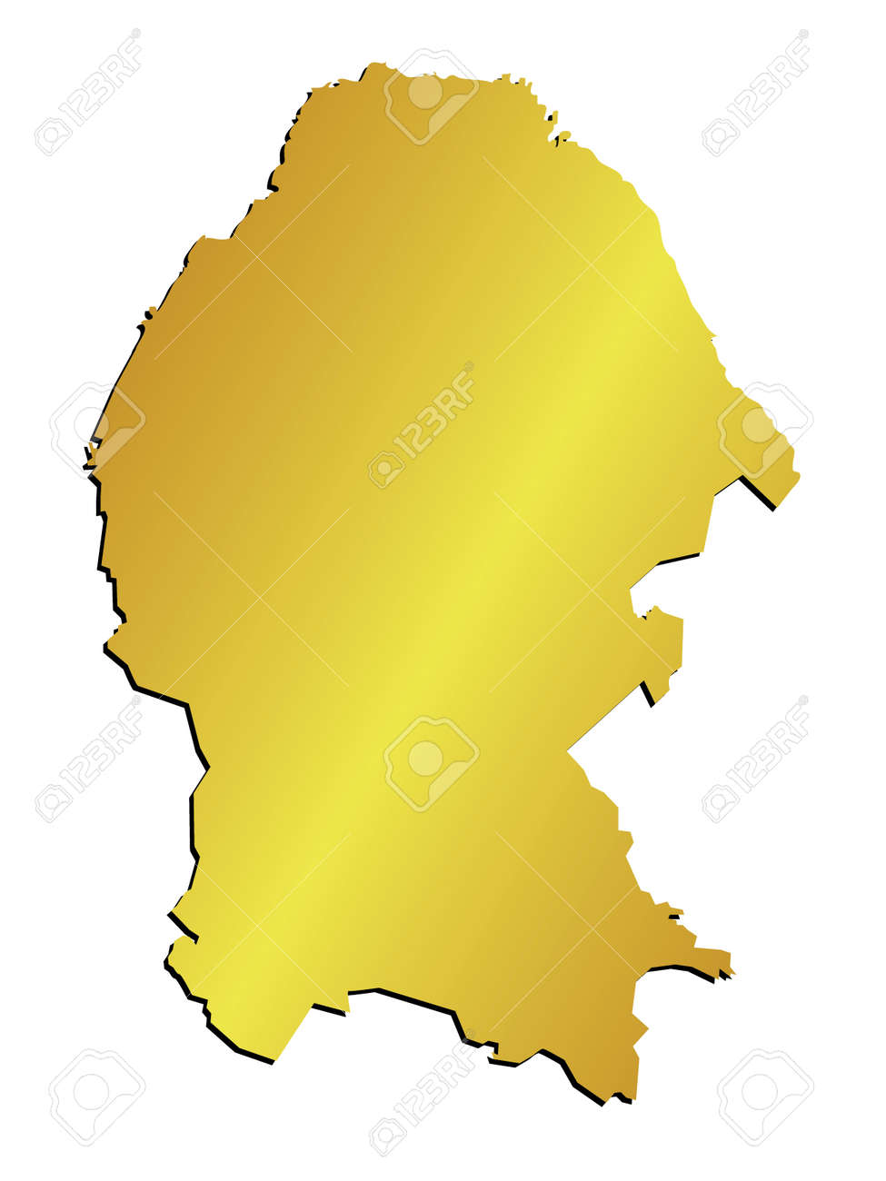 3D Coahuila Mexico State Map Vector Gold Royalty Free Cliparts