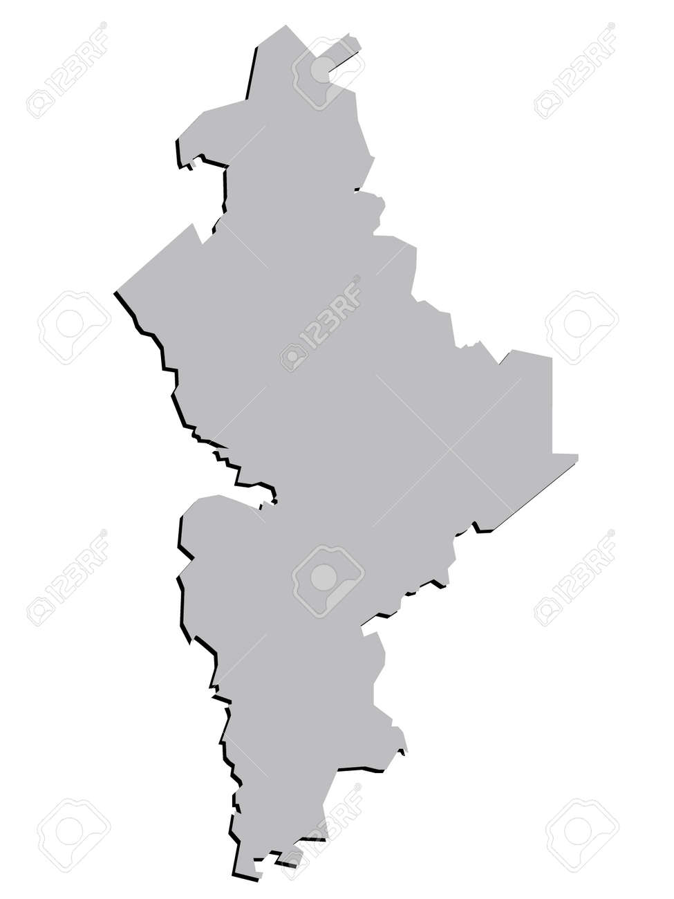 3d Nuevo Leon Mexico State Map Grey Vector Royalty Free Cliparts
