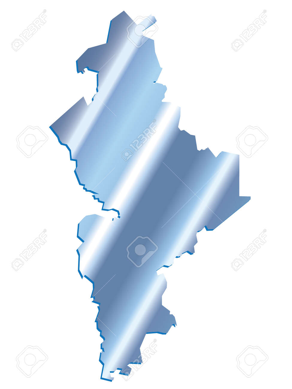 State Map Mexico.3d Nuevo Leon Mexico State Map Iridium Vector Royalty Free Cliparts