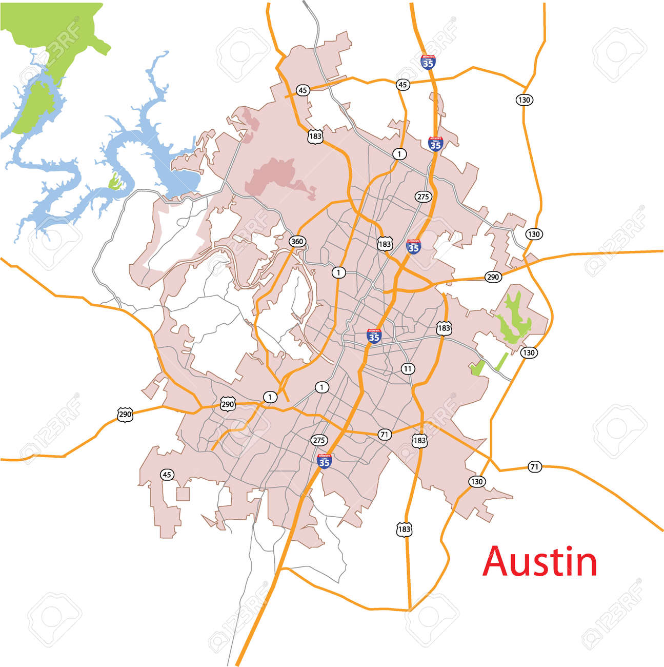 Austin Texas Usa Detailed Vector Map Royalty Free Cliparts