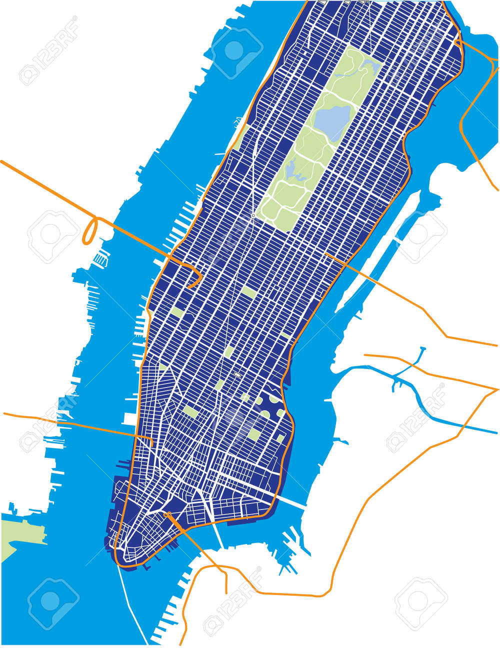 New York City Lower And Mid Manhattan Vector Map Dark Blue