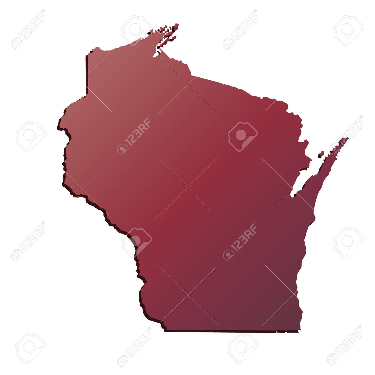 Autumn Gradient Wisconsin (USA) State map with shadow