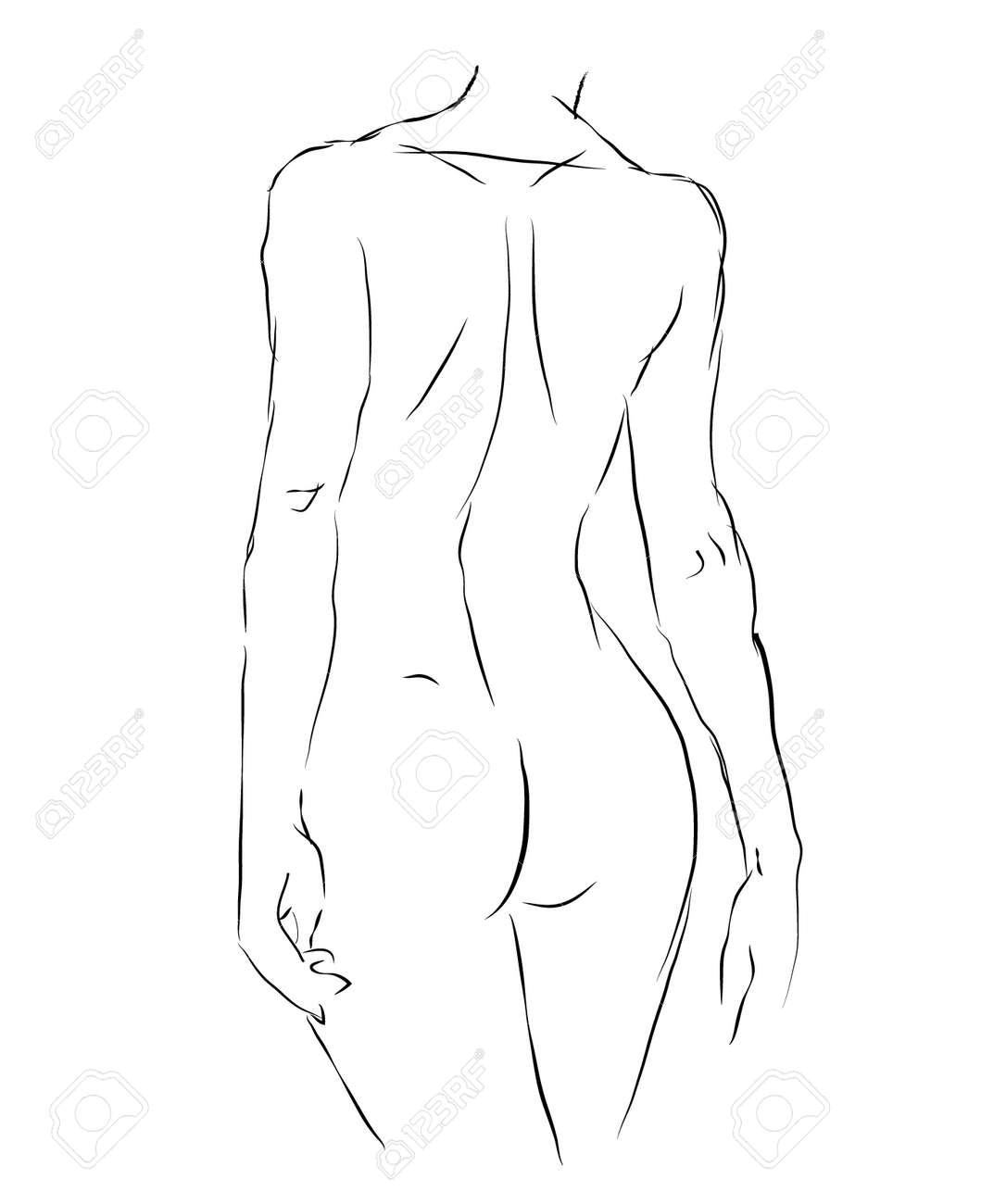 Femme Dessin Corps nuit, figure féminine, vie, dessin, corps, femme, dos, vue clip art