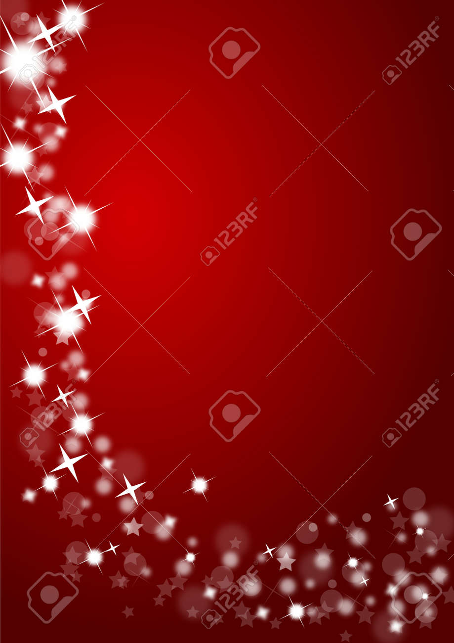 Christmas background in red with glittering stars Stock Photo - 10177046