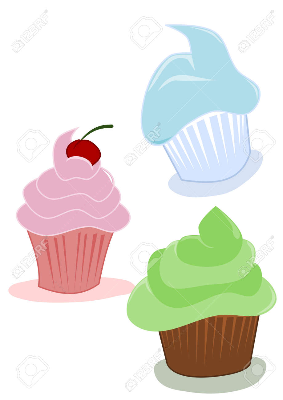 Cupcakes, Cartoon drawing Stock Vector - 10780606