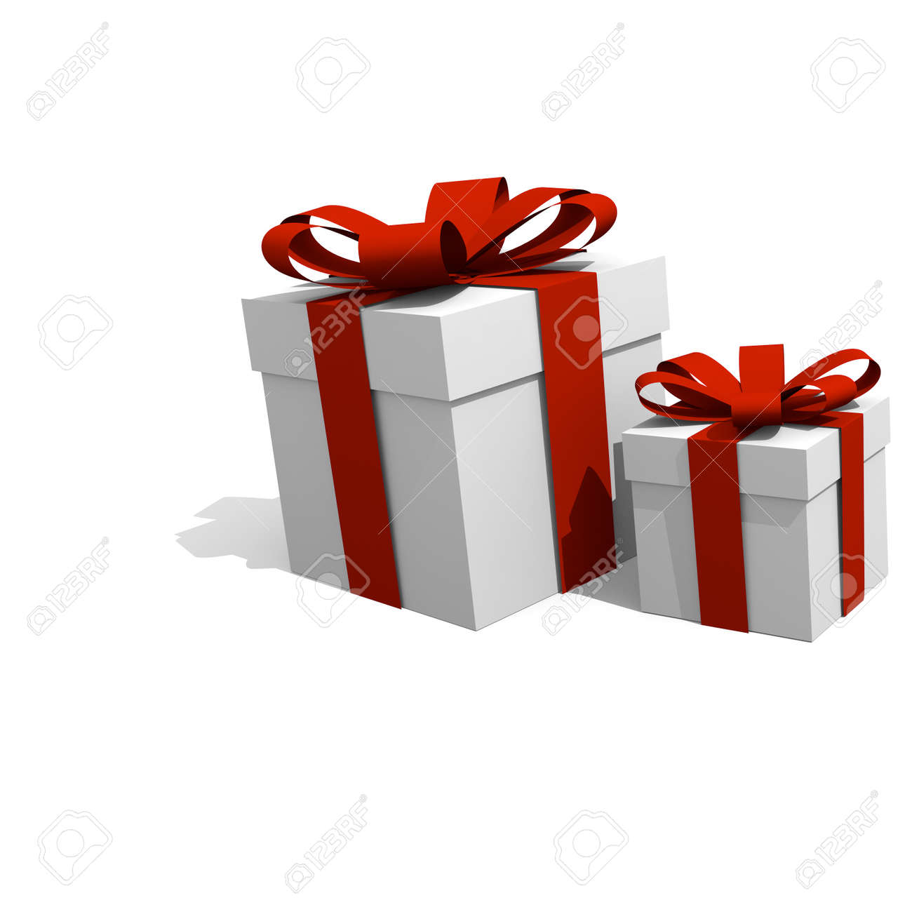 Christmas Presents On A White Background, 3D Image Stock Photo ...