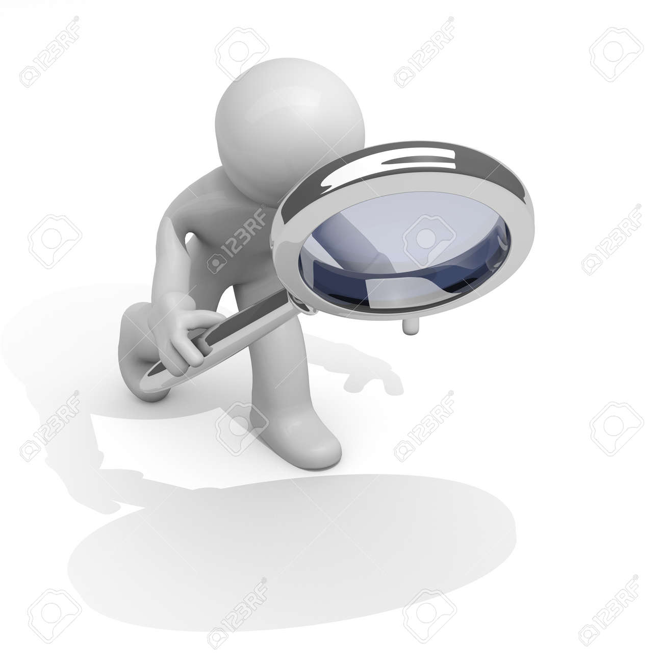 3d man with a magnifying glass Stock Photo - 12927863