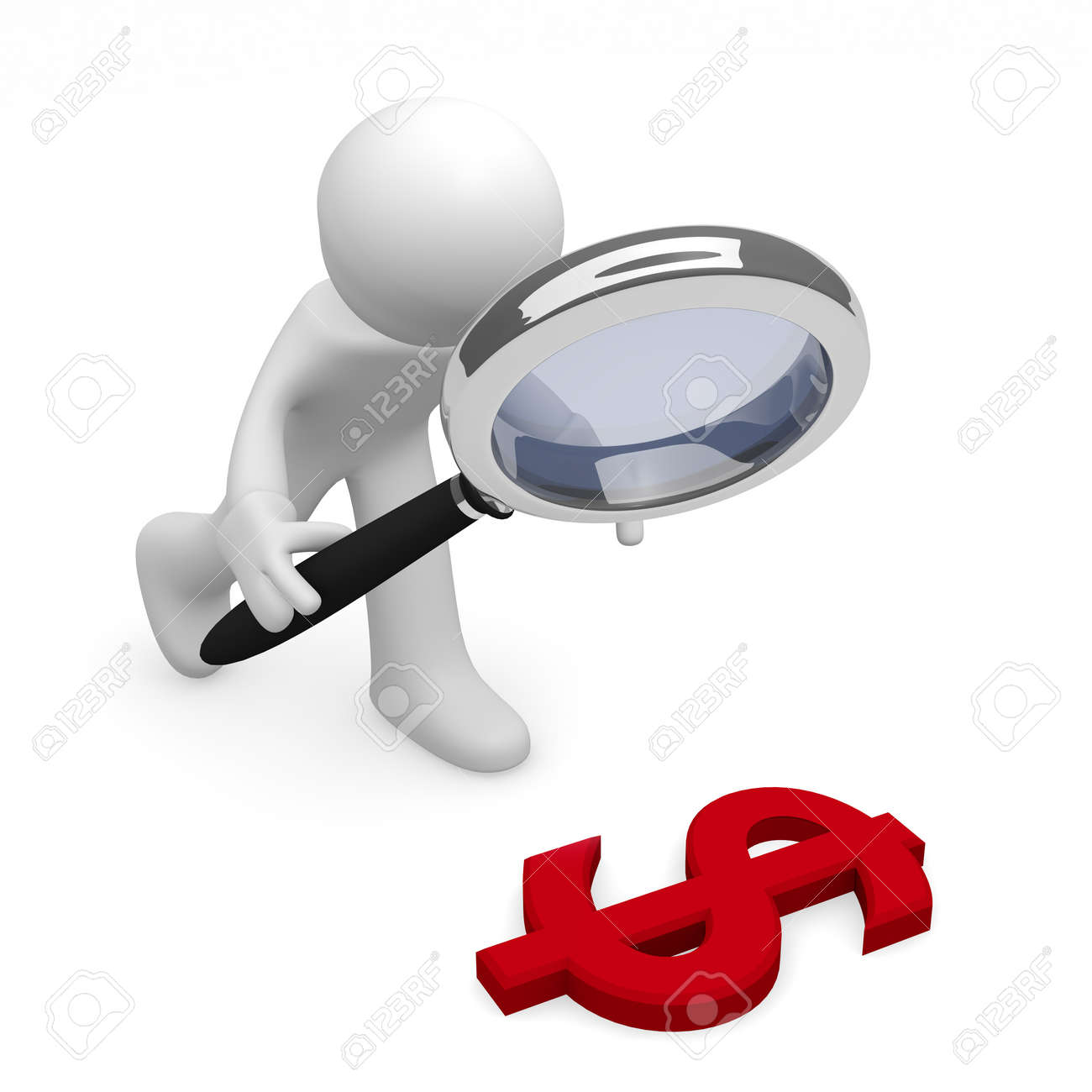 Man with a magnifying glass and a red dollar icon Stock Photo - 16055043