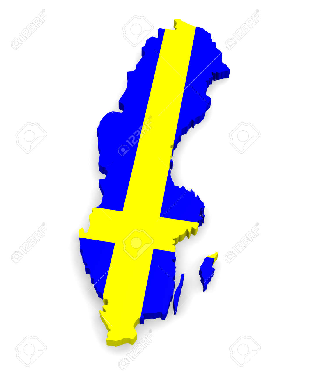 D Map Of Sweden Stock Photo Picture And Royalty Free Image - Sweden map 3d