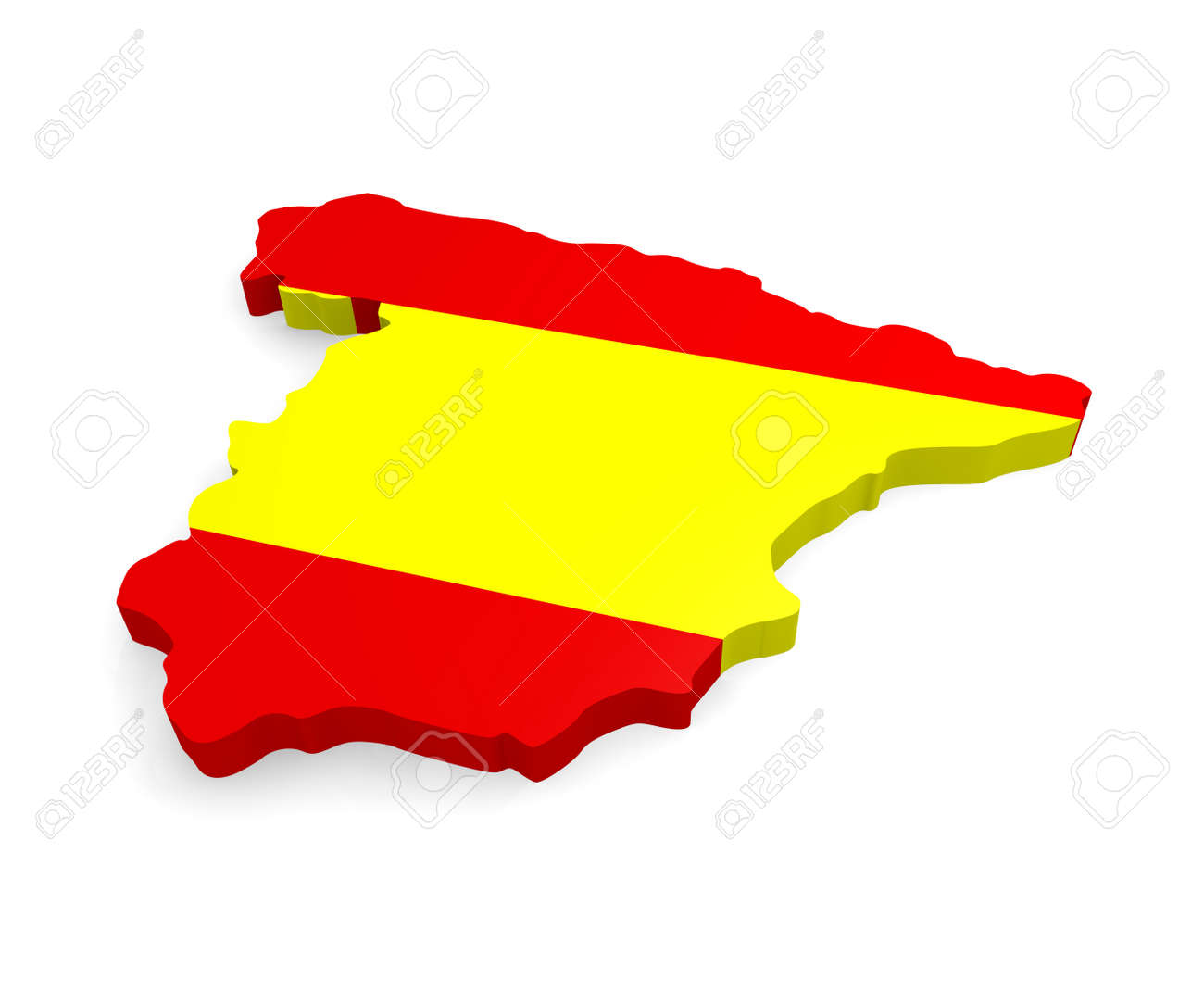 3d Map Of Spain.3d Map Of Spain On A White Background