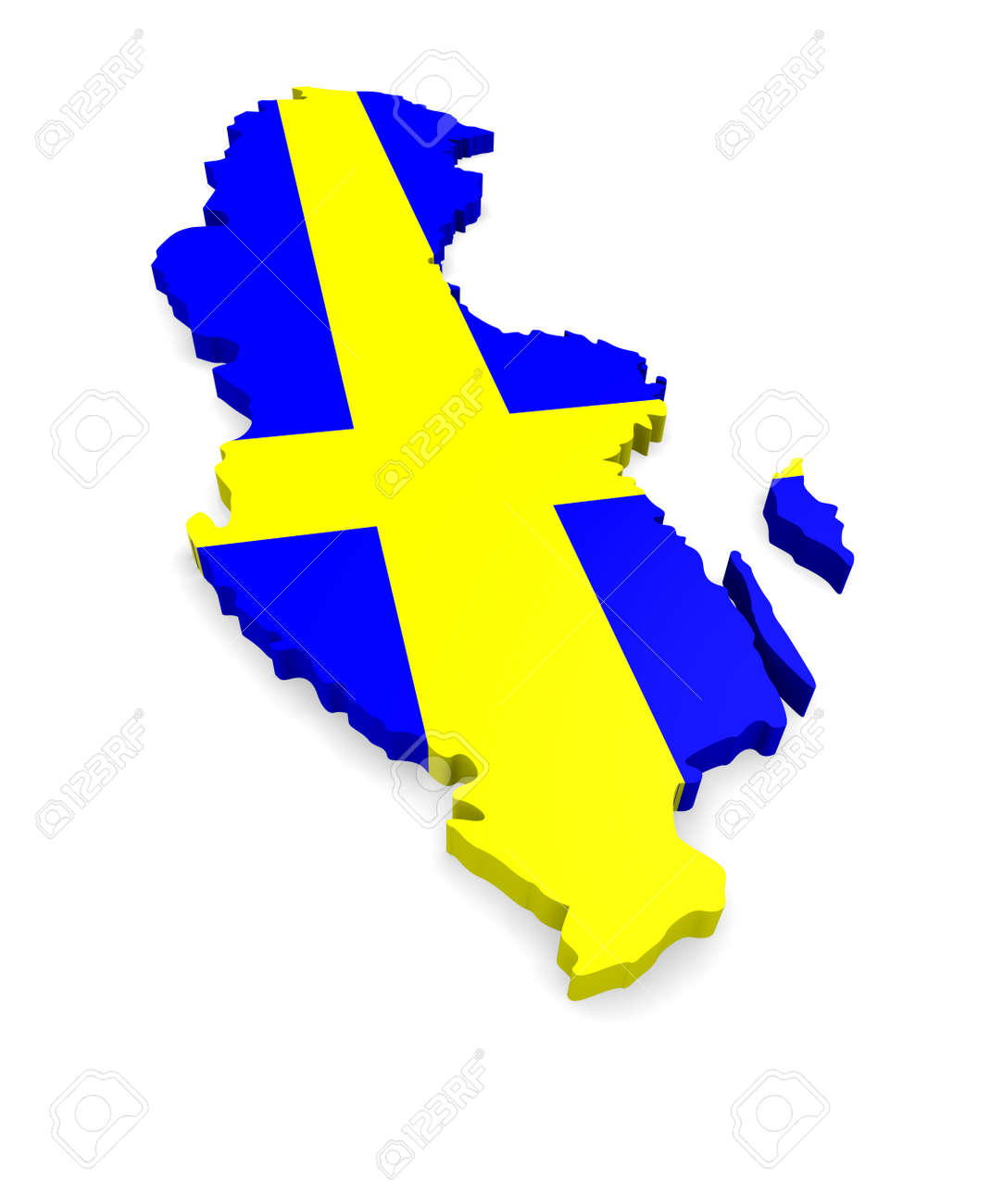 D Map Of Sweden On A White Background Stock Photo Picture And - Sweden map 3d