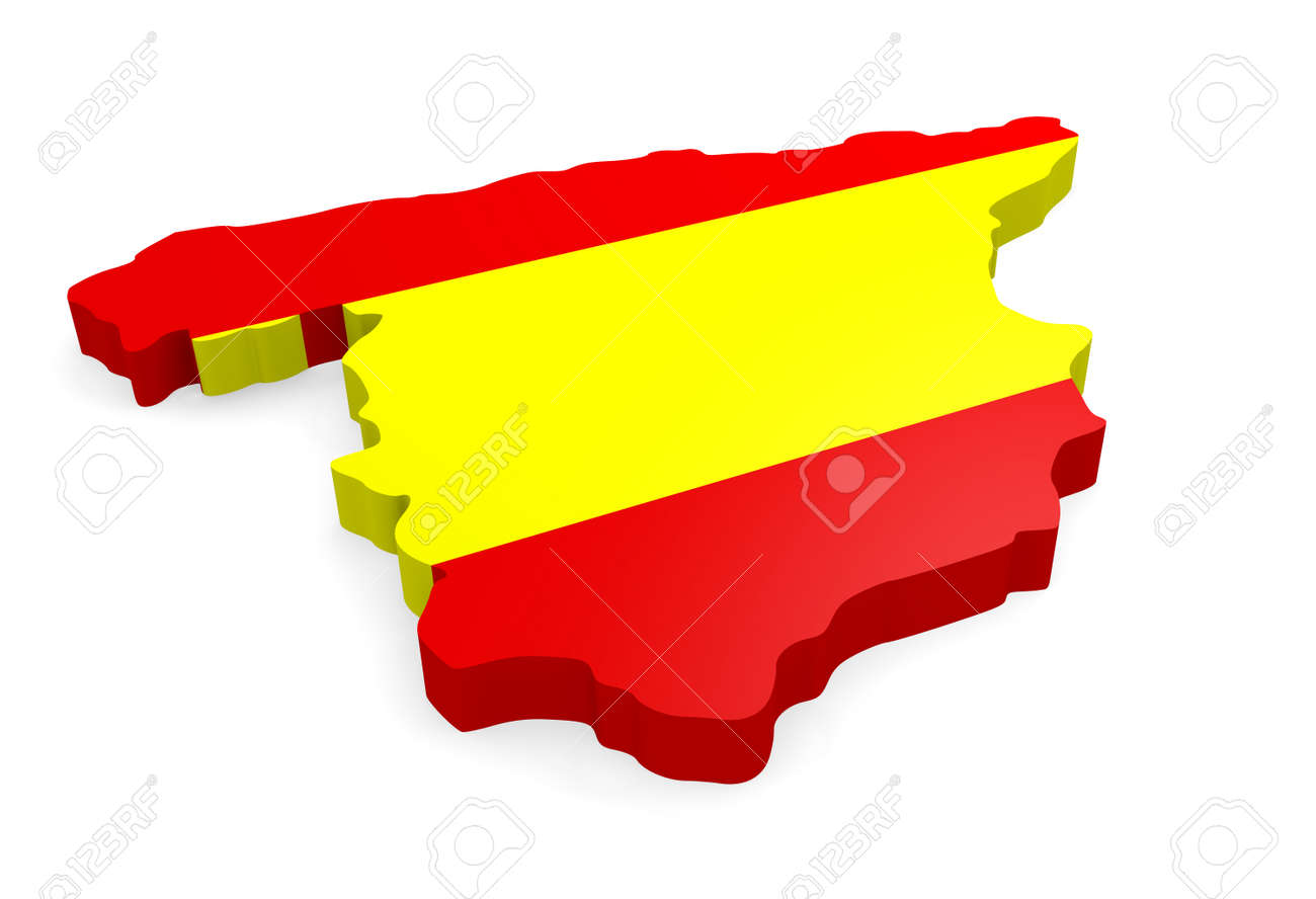 3d Map Of Spain.3d Map Of Spain With The Spanish Flag On A White Background