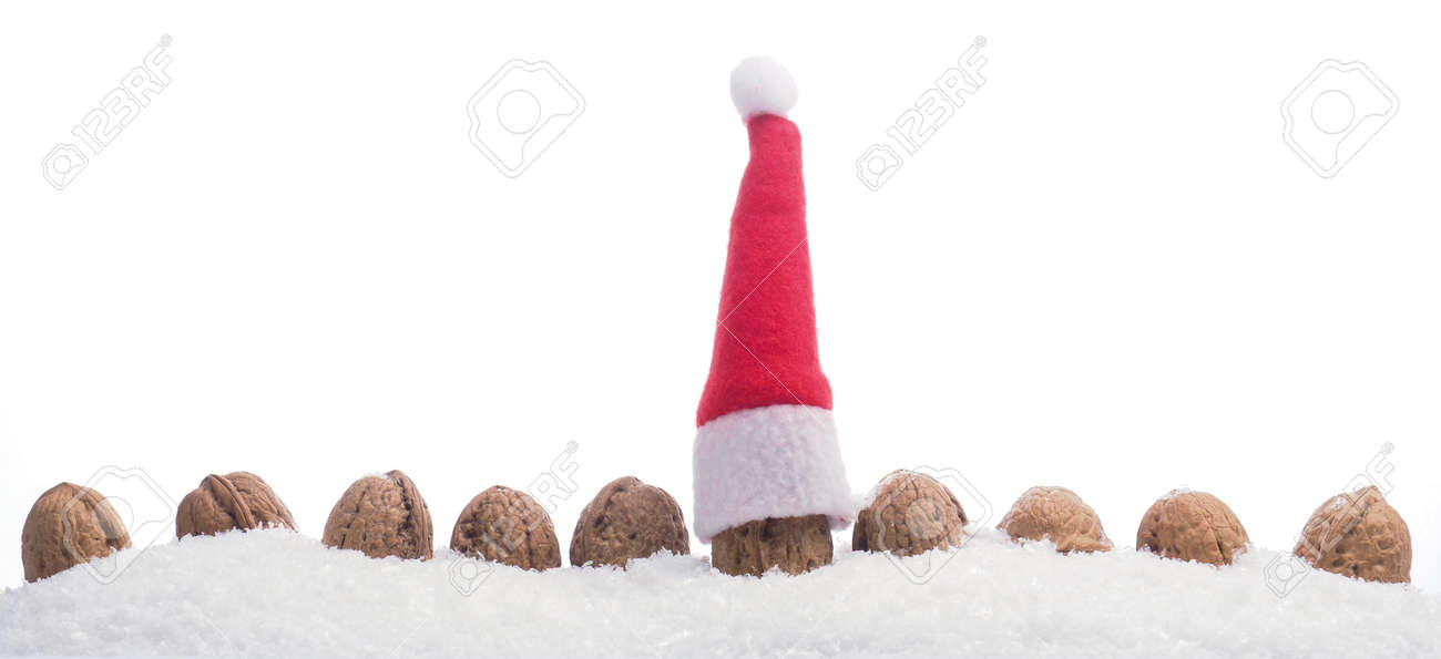 Row of walnuts in snow with Santa s hat on a white background Stock Photo 8e2aa8f36c19