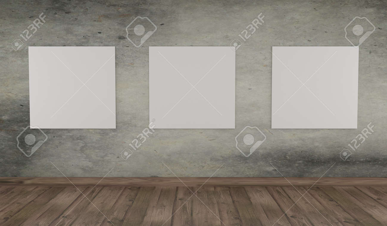 Modern interior with three canvas on a concrete wall mock up