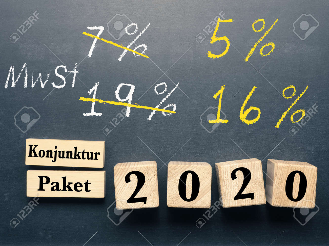 Conceptual image with wooden blocks on a chalkboard for economic stimulus package for Germany. - 149592004