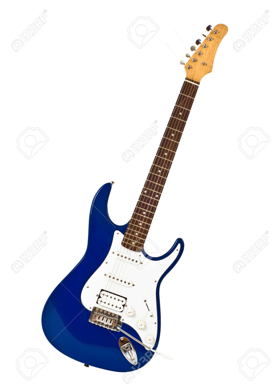 Blue Electric Guitar Isolated On White Stock Photo Picture And