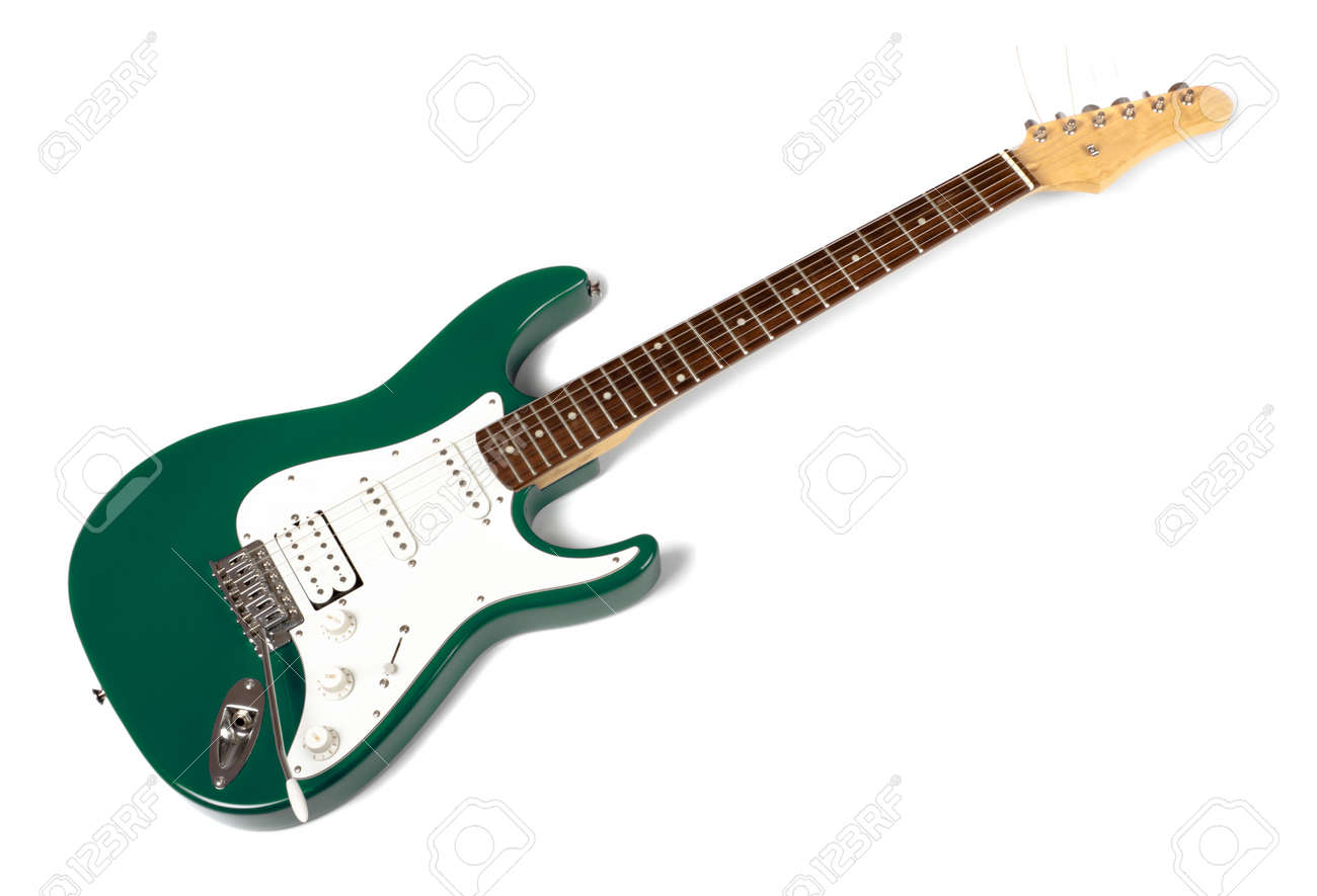 Green Electric Guitar Green Electric Guitar Isolated
