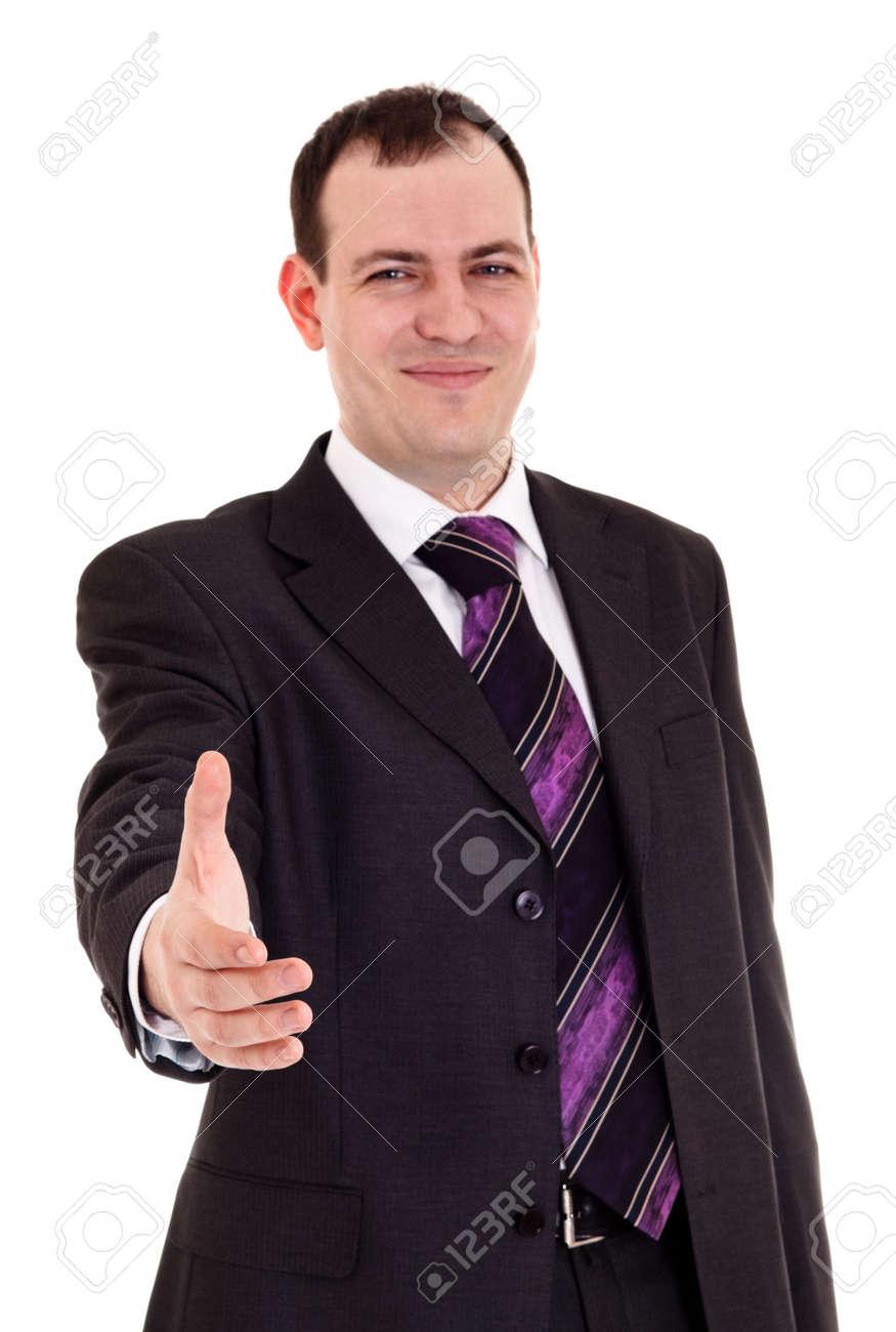 businessman ready shake hand, white background Stock Photo - 6515271
