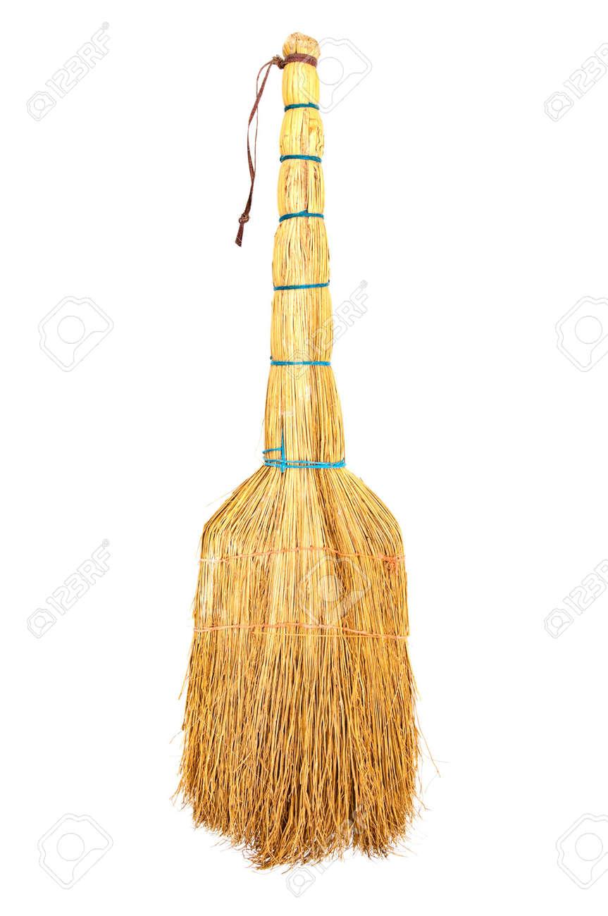 yellow broom isolated on white Stock Photo - 6662327