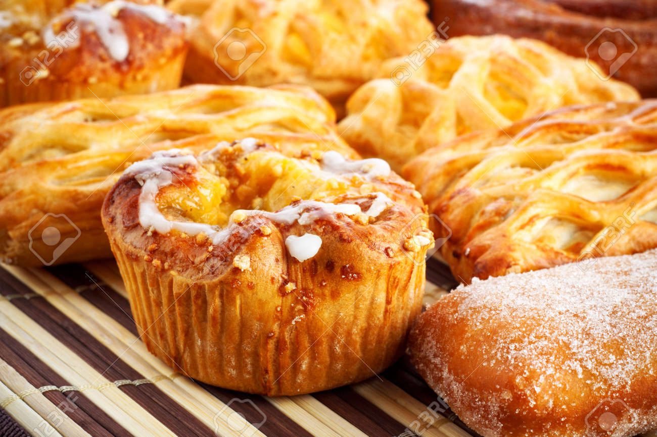 different sweet baking on bamboo napkin Stock Photo - 7662204