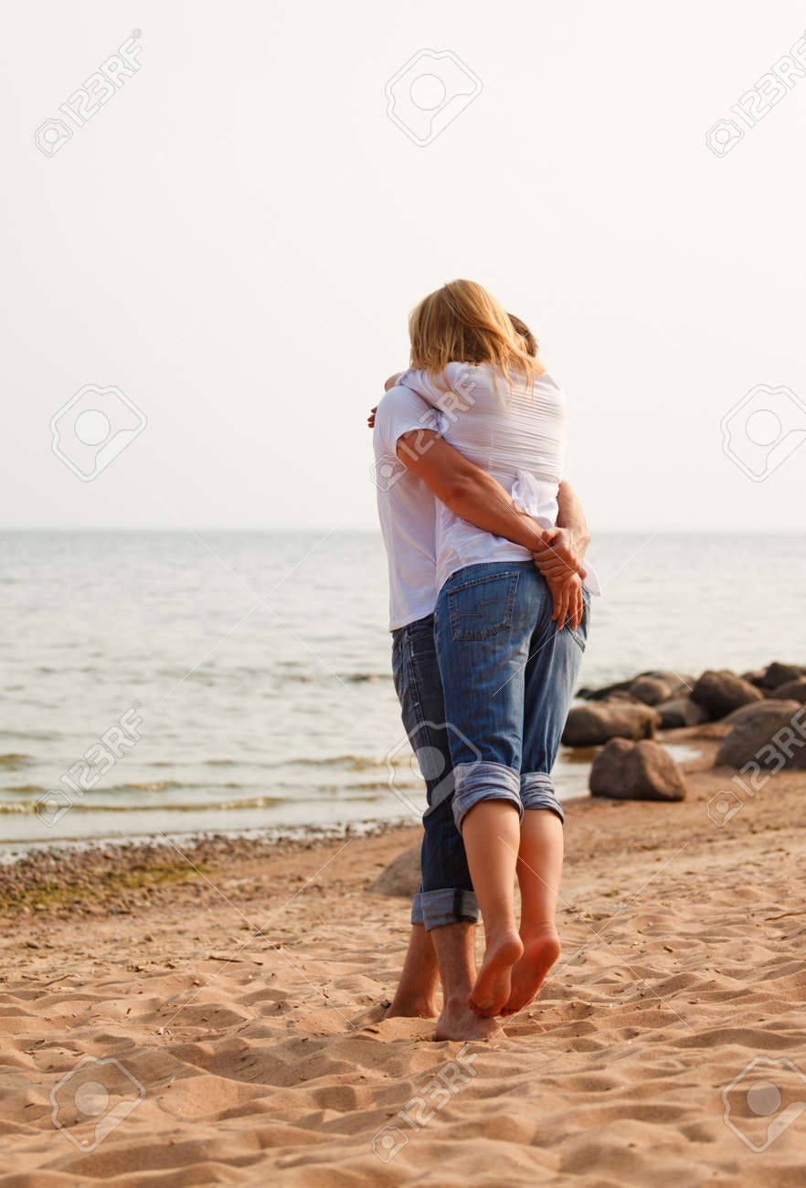 beautiful couple fun on a beach Stock Photo - 7878315