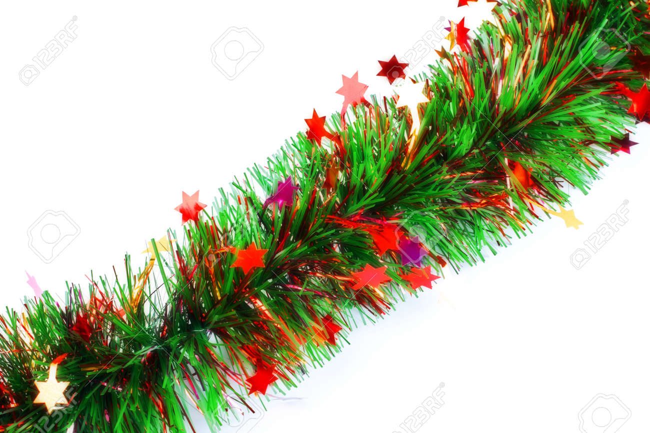Christmas Tinsel Garland.Christmas Tinsel Garland With Stars