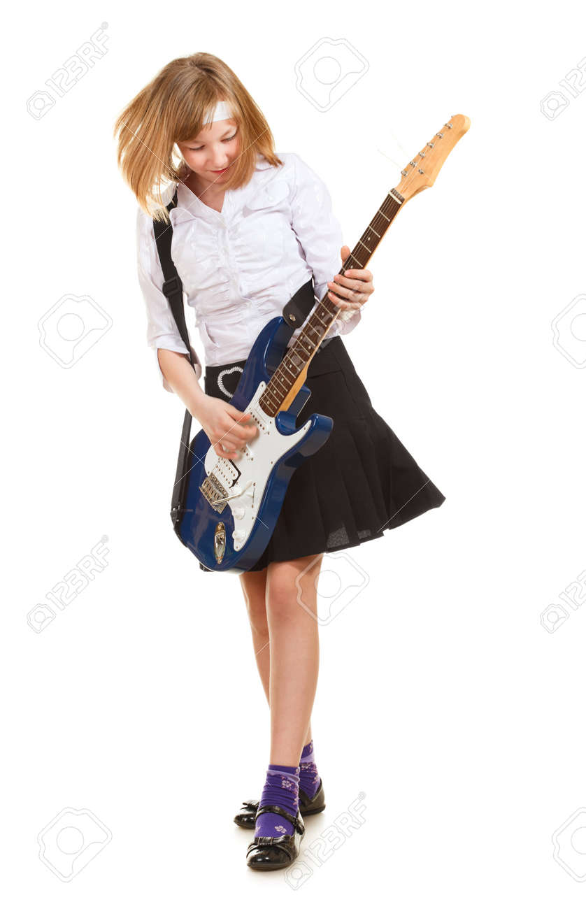teen girl playing on a guitar, isolated on white Stock Photo - 9568598