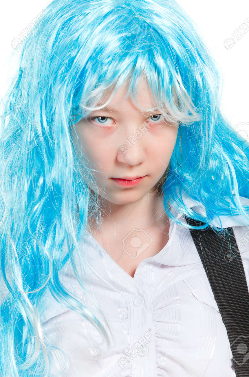 teenager girl rockstar in blue wig, isolated on white Stock Photo - 9782965