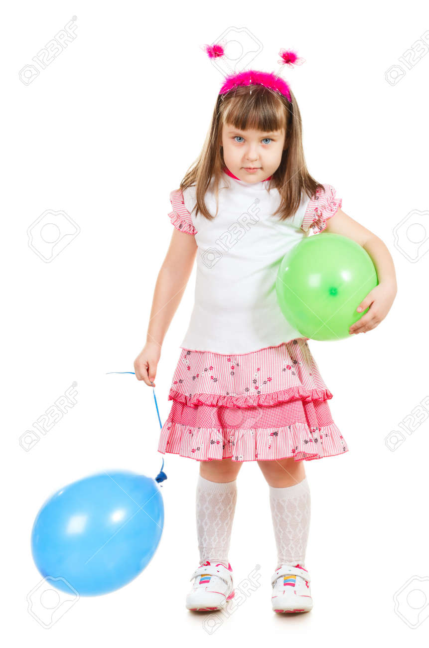 funny little girl with balloons, isolated on white Stock Photo - 9783153