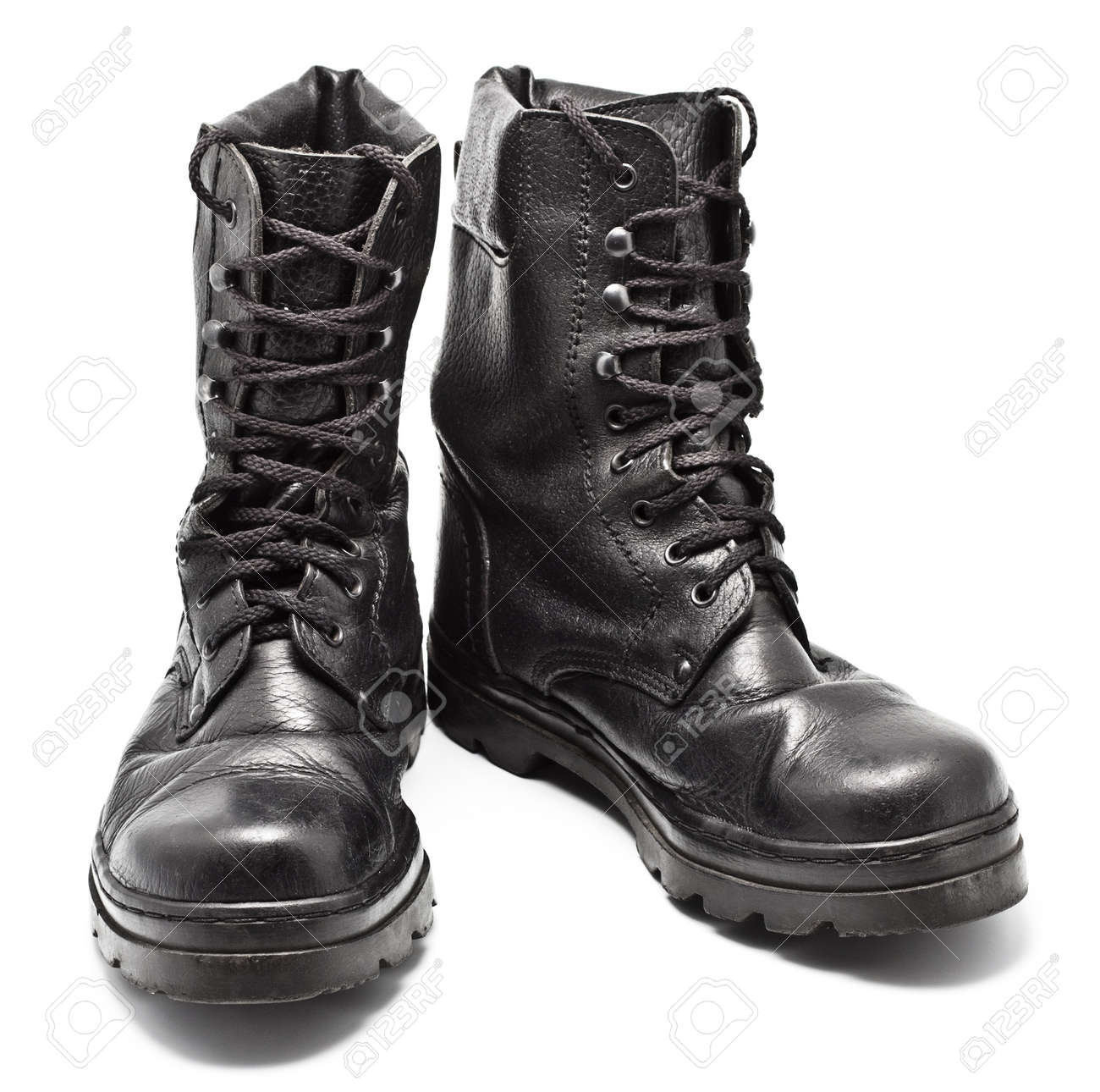 Black Leather Army Boots Isolated On