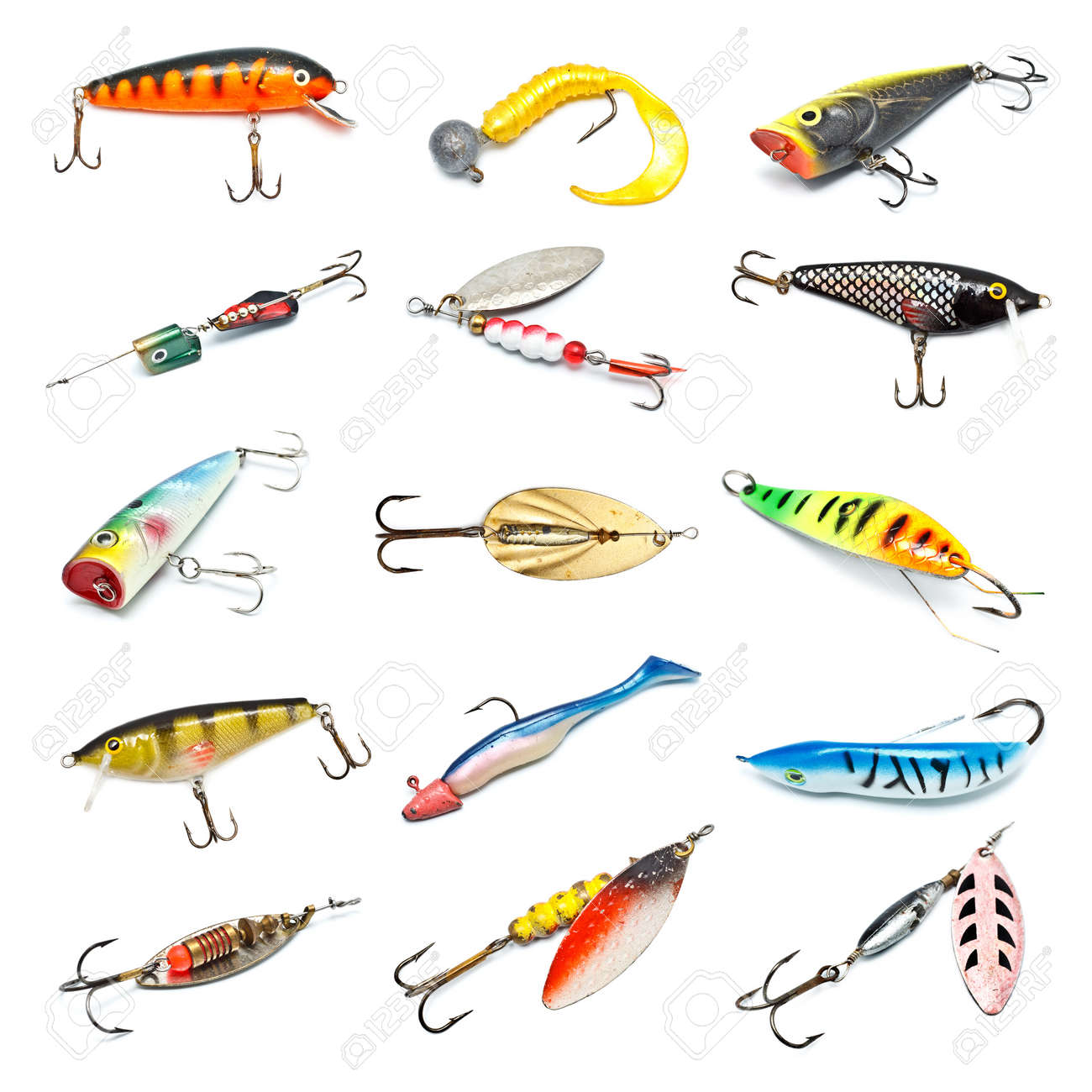 different fishing baits isolated on white background Stock Photo - 13102826