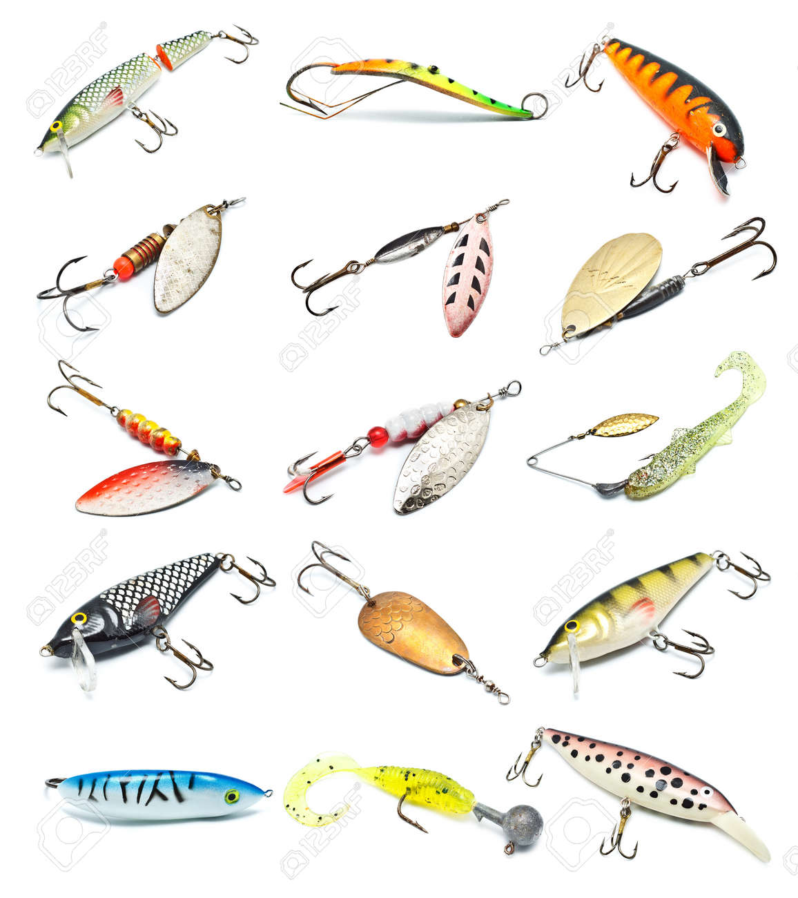 different fishing baits isolated on white background stock photo, Hard Baits