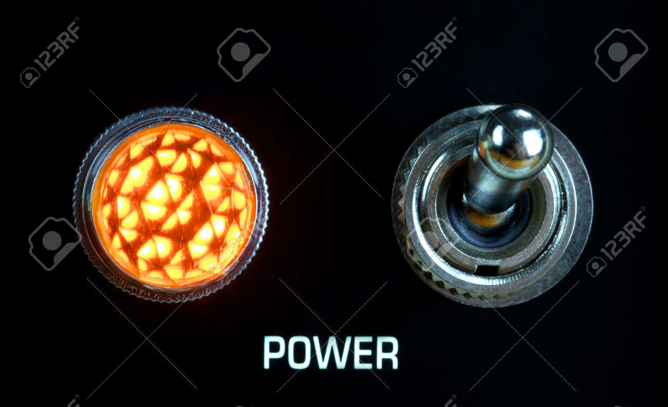 retro guitar amplifier control panel, toggle switch and lamp, close up Stock Photo - 17407935