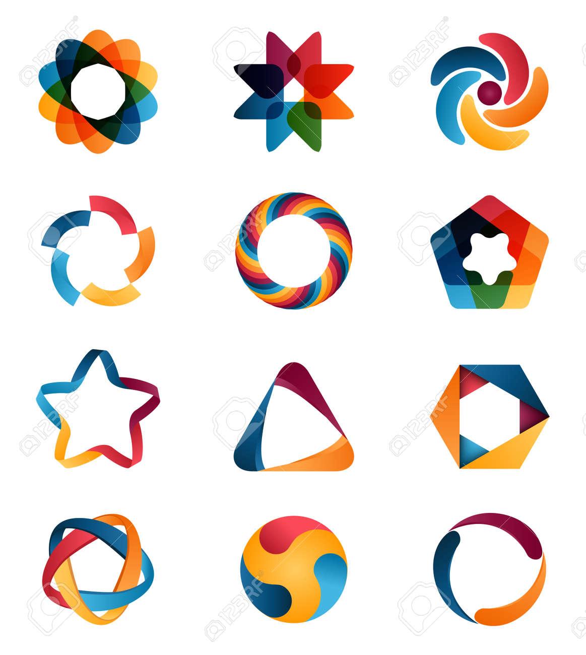 Logo-Vorlagen Eingestellt. Abstrakt Kreativ Kreis Zeichen Und ...