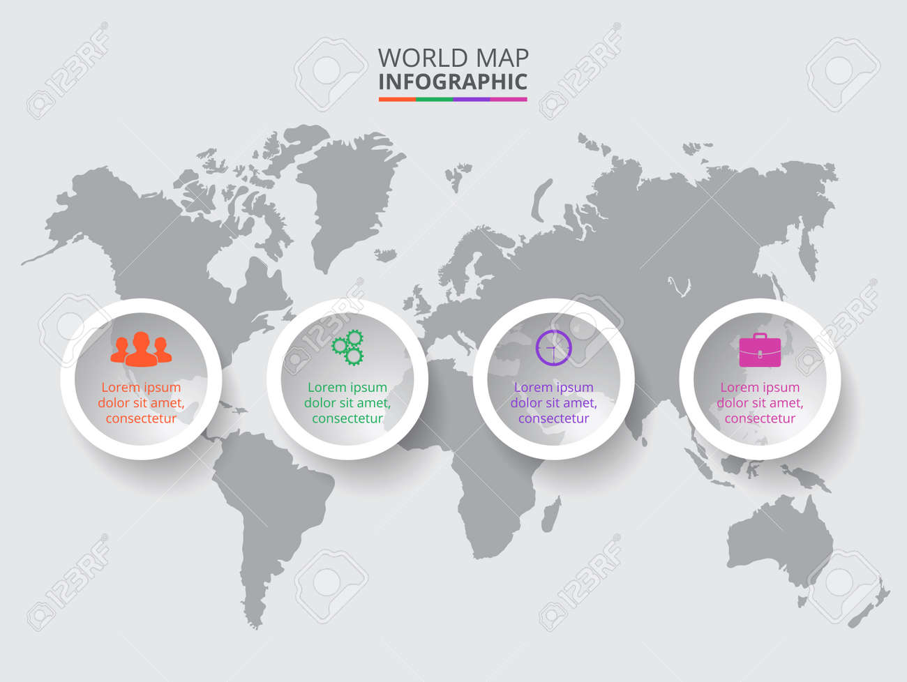 Vector World Map With Infographic Elements. Template For Diagram ...
