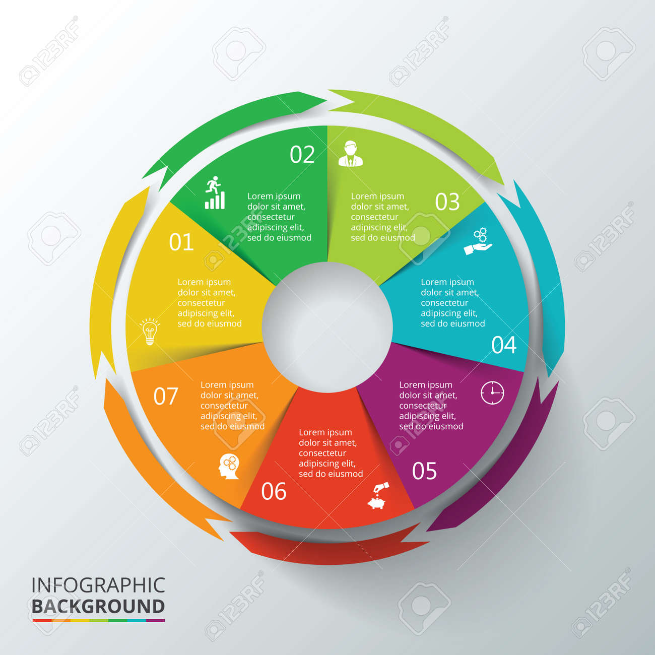 Vector circle infographic template for cycle diagram graph banco de imagens vector circle infographic template for cycle diagram graph presentation and round chart business concept with 7 options parts ccuart Image collections