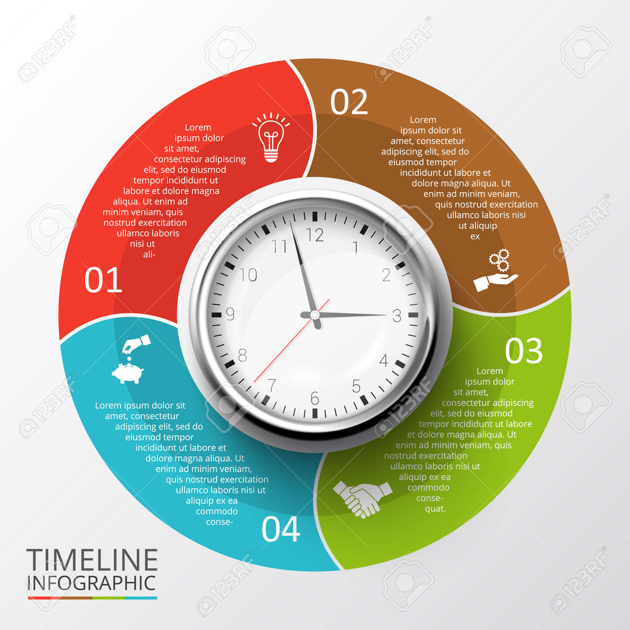 Vector Circles Elements Set With Watch For Timeline Infographic