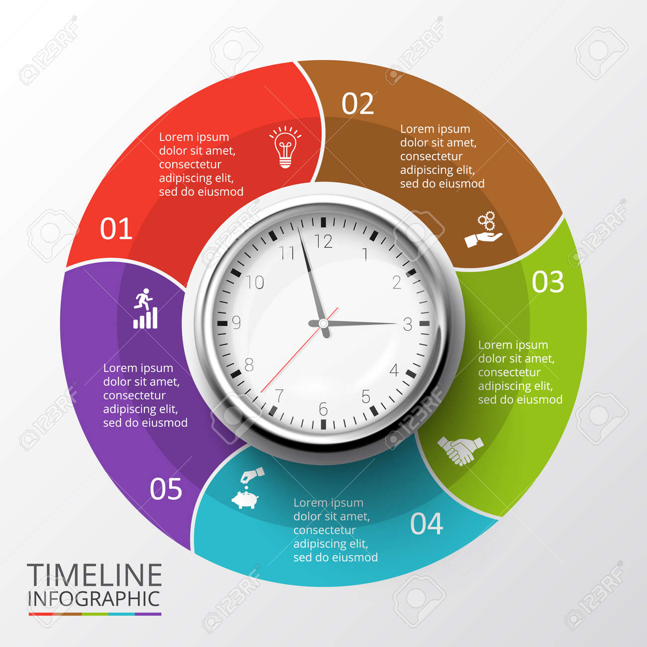 Vector Circles Elements Set With Watch For Timeline Infographic ...