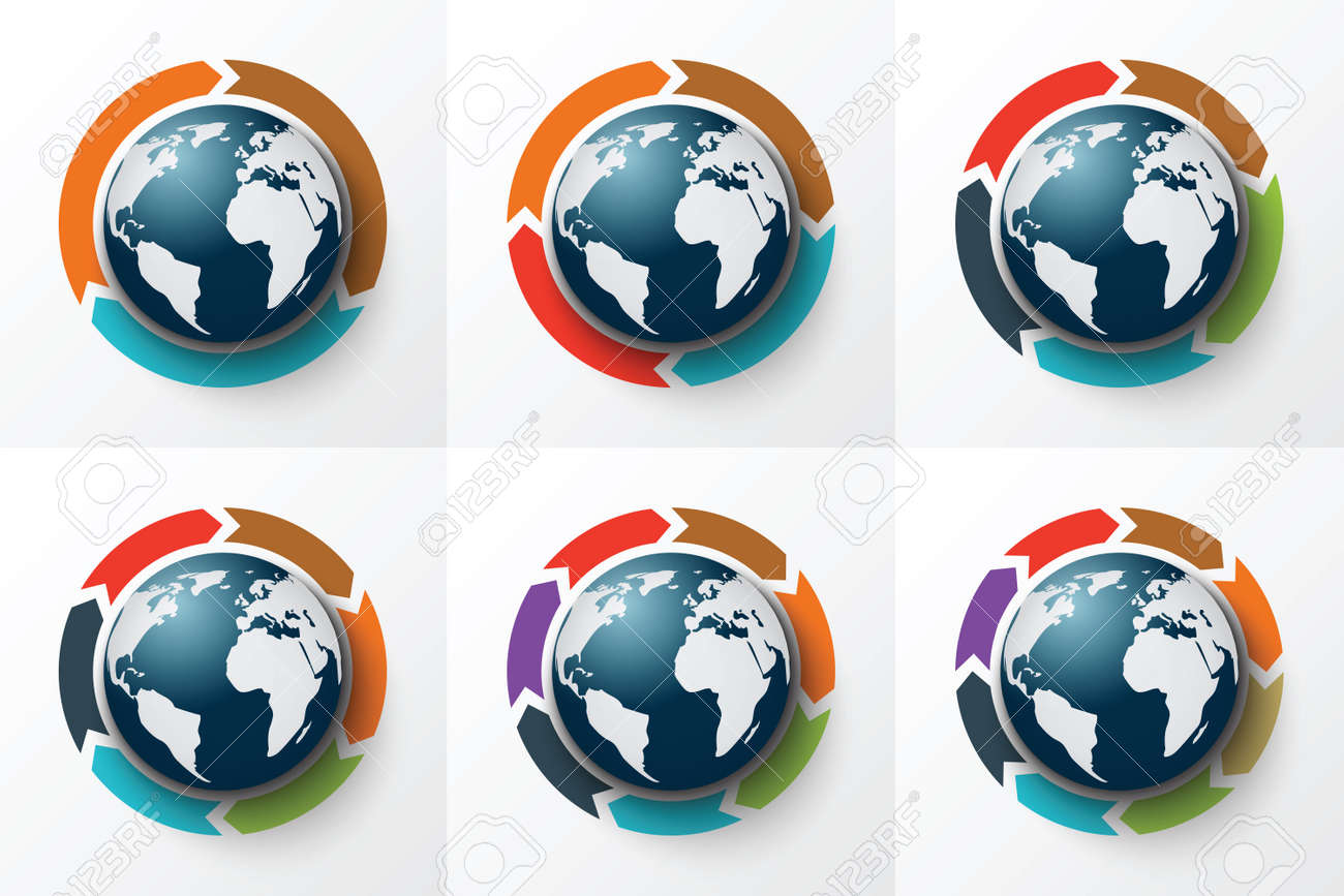 Process cycling arrow by arrow royalty free stock images image - Vector Arrows Around The Earth For Infographic Template For Cycle Diagram Graph Presentation