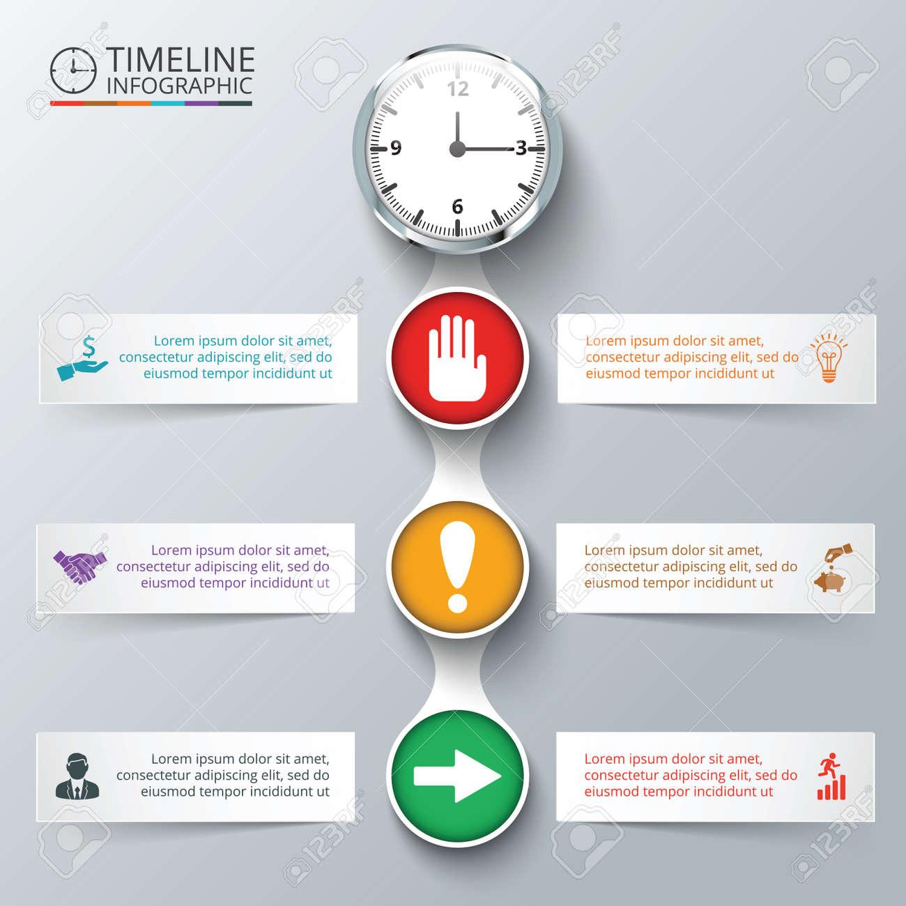 Vector-Elemente Mit Uhr Für Die Timeline Infografik. Vorlage Für ...