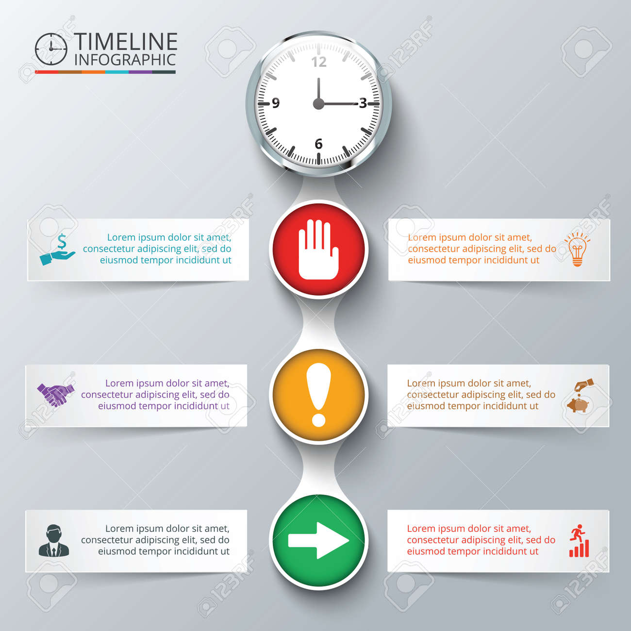 Vector Elements With Watch For Timeline Infographic Template