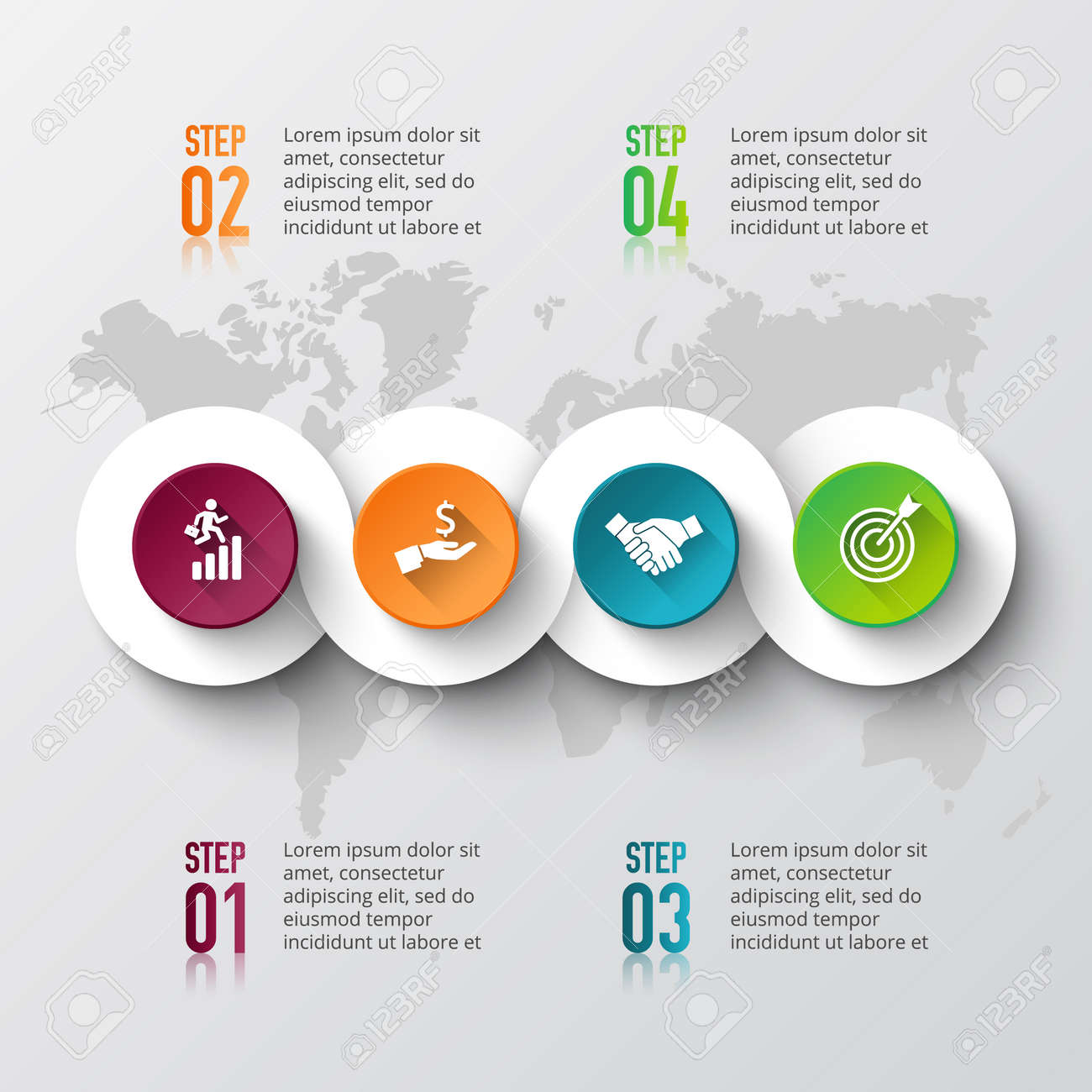Vector world map with infographic elements template for diagram vector vector world map with infographic elements template for diagram graph presentation business concept with 4 options parts steps or processes cheaphphosting Choice Image